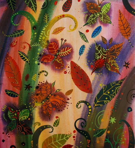 Le farfalle come le foglie, 50x70 cm, ac