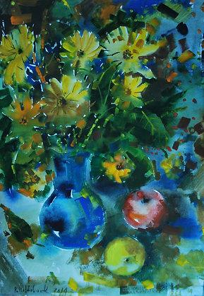Naturamorta con i fiori gialle