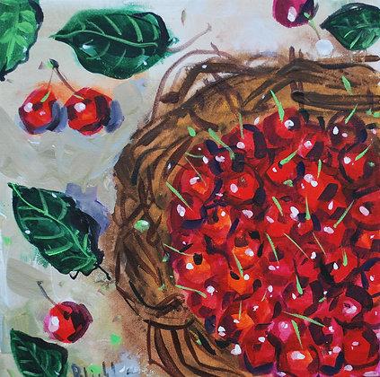 """quadro dipinto a mano esclusivo 30x30 """"ciliegie"""""""