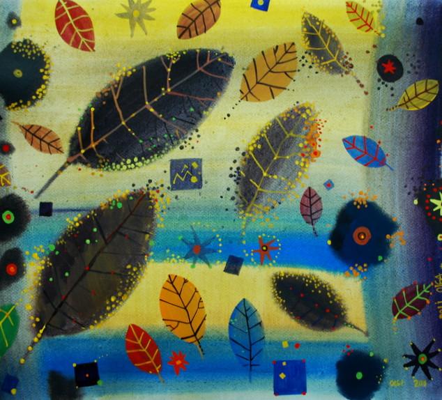 le foglie in acqua, 50x70 cm, acquerello