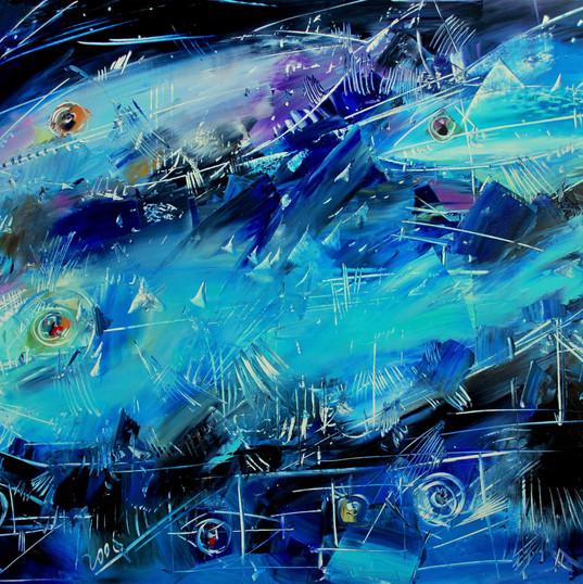 Tre pesci azzurri ,100x80 cm, olio, tela
