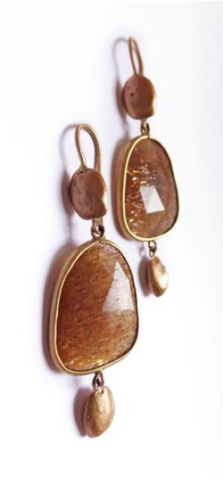 Carrob seeds earrings rose gold adularia