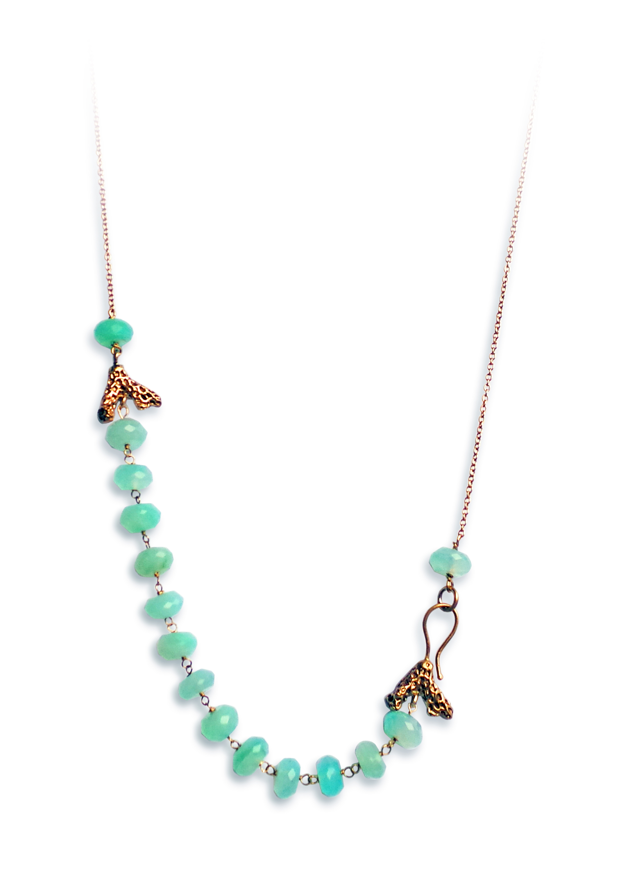Coral twigs white gold necklace andine o