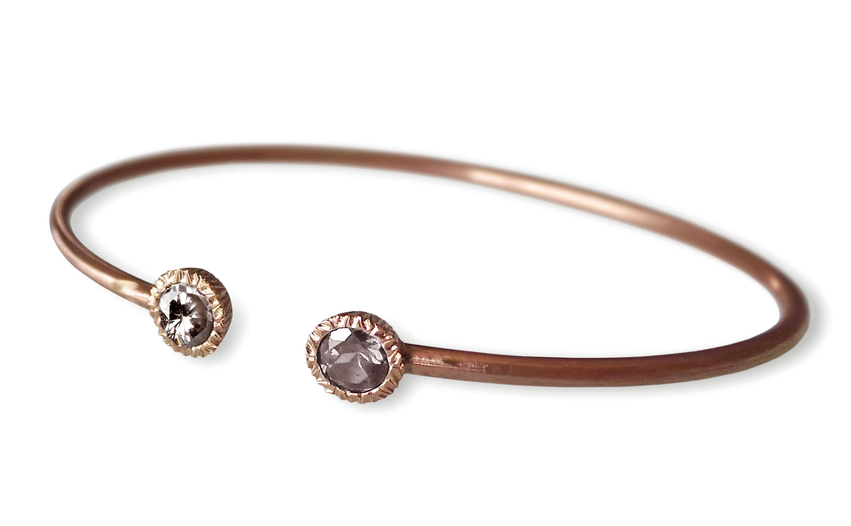 Giulia Rose Gold Two round Diamond Bangl