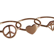 Peace Love Jewelry Rose Gold rings tris.