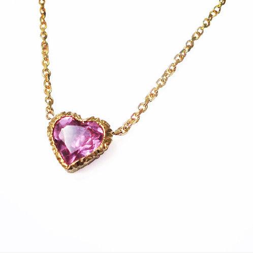 Giulia necklace rose gold heart shaped tourmaline