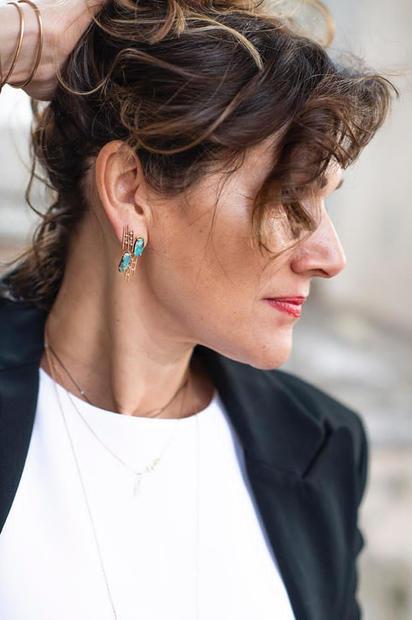 Rain Rose Gold Earrings Boulder Opal