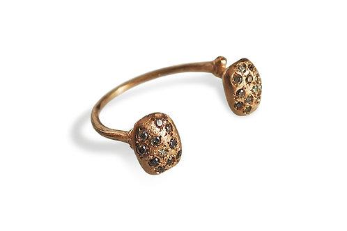 Qirat rose gold 18kt open ring, brown diamond pavè