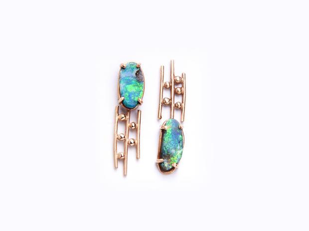 Rain orecchini oro rosa opale boulder au