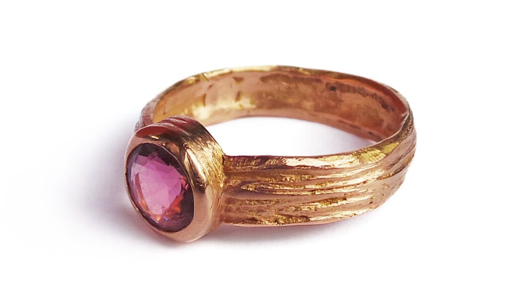 Vanilla ring pink tear tourmaline