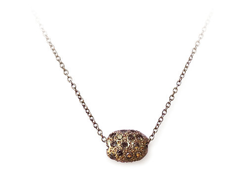 Carrob seed necklace, brown diamond pavè