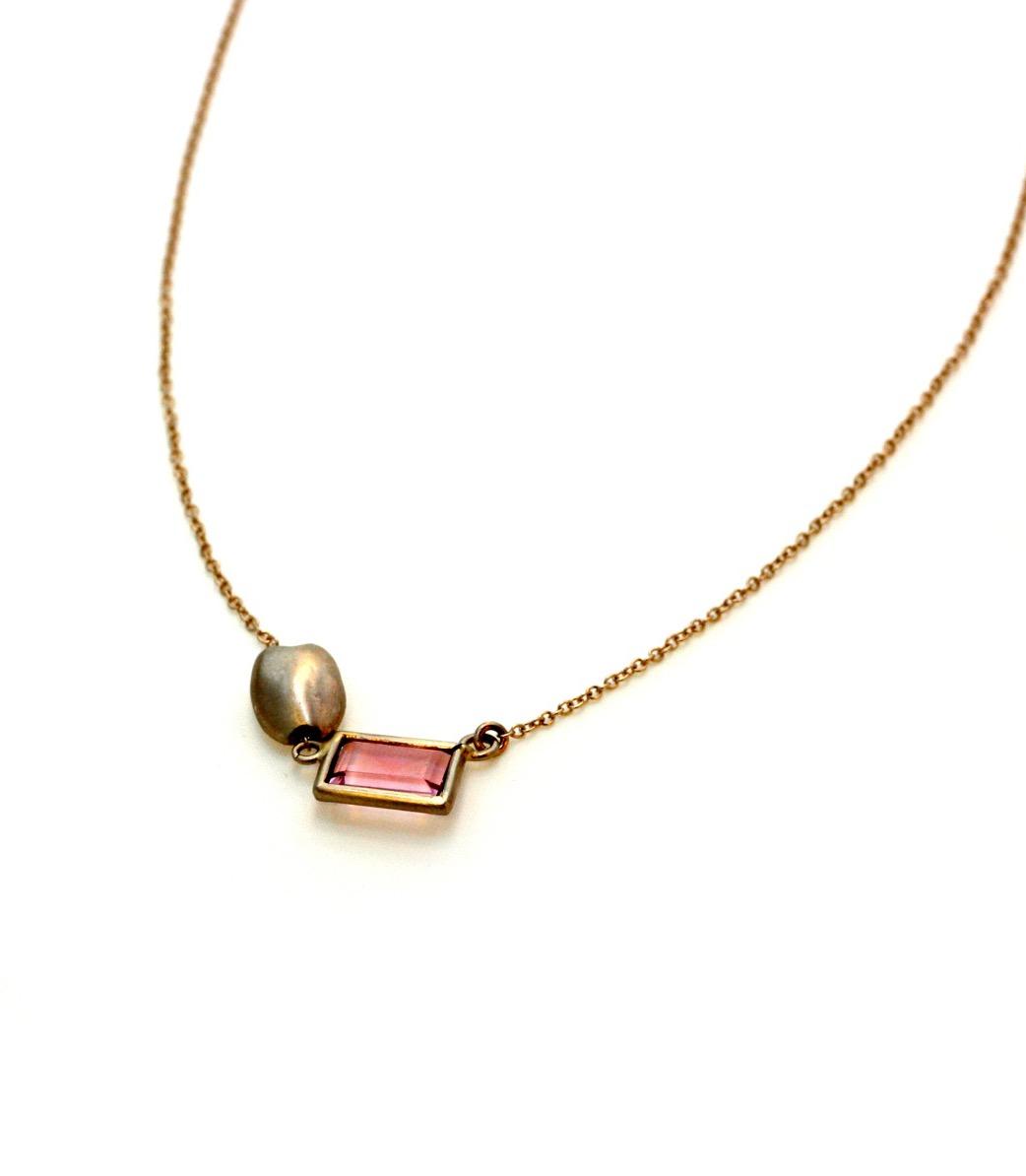 Carrob seed necklace pink tourmaline