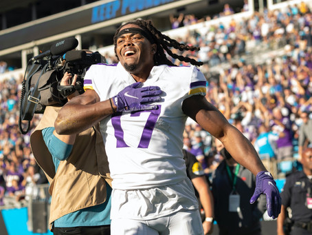 Minnesota Vikings improve to 3-3 with 34-28 OT win over the Carolina Panthers (3-3), head into Bye