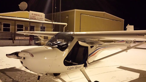 Remos GX at Night at Kimball, NE Airport
