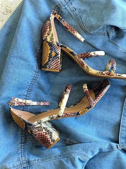 Aries Snake multi colored block heel