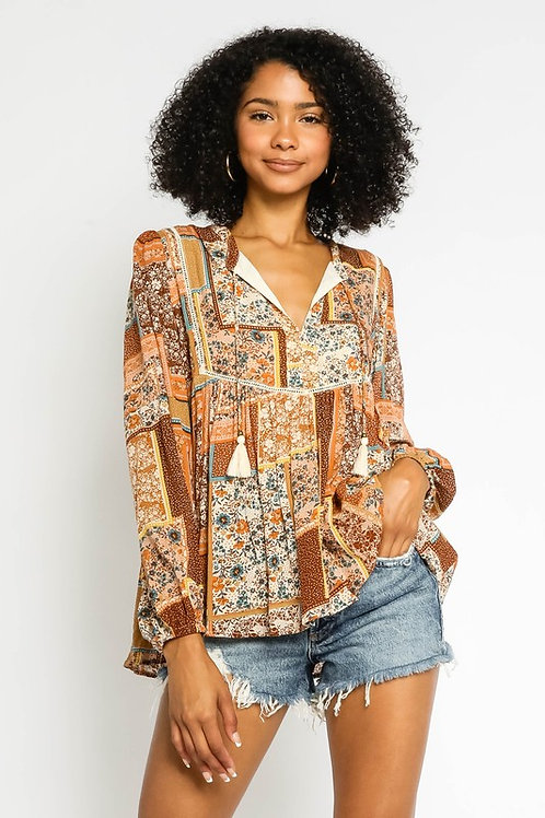 Mill Patchwork Peasant Top