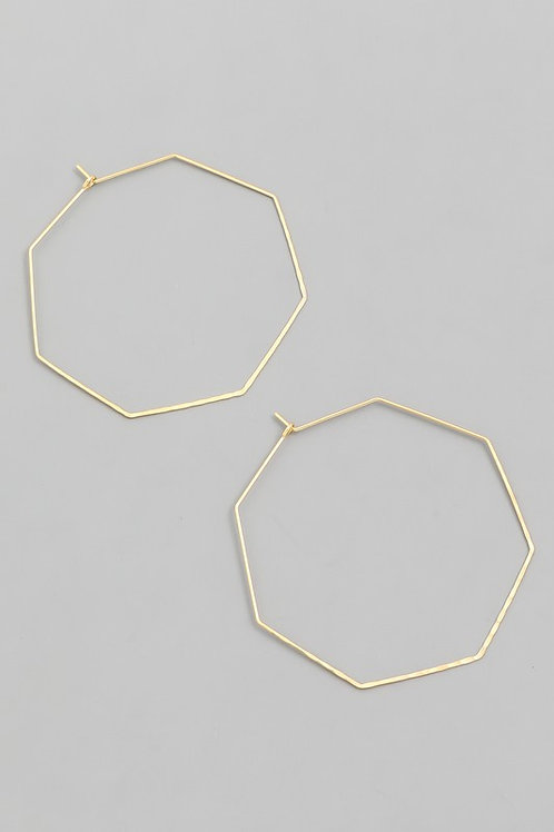 Dainty octagon hoops