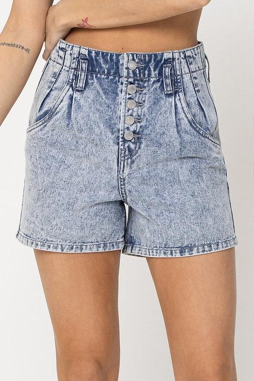 Acid Denim Shorts