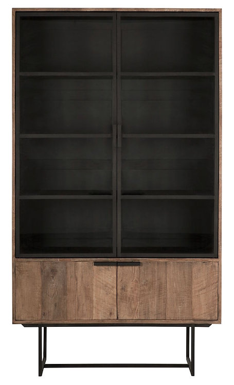DTP Home, Vitrine Odeon, Teakholz, braun, 4-türig, 210x120x40cm