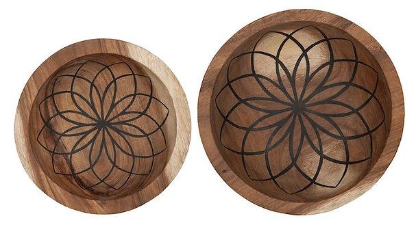 MUST LIVING, Mood for Wood, Schalen Mandala Lotus, Teakholz, braun, 2er Set