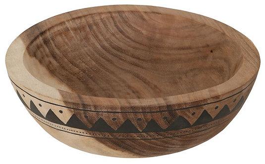 MUST LIVING, Mood for Wood, Schale Aztec, Teakholz, braun, 10x30cm