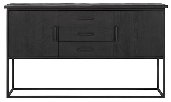 DTP Home Timeless Black, Sideboard Beam No.2, recyceltes Teakholz, 90x158x43cm