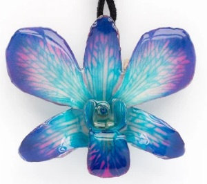 Purple & Teal Dendrobium Necklace with Brooch Option