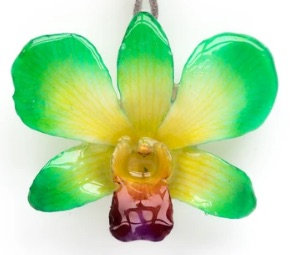 Bright Green Dendrobium Necklace with Brooch Option