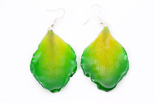 Green Rose Petal Earrings