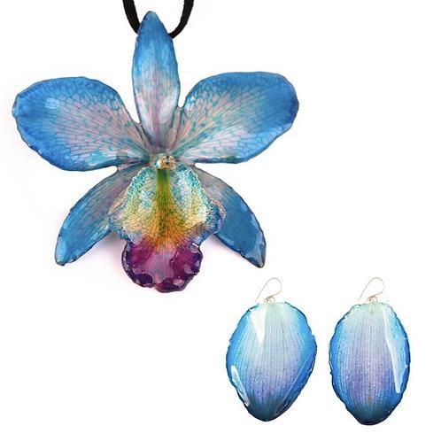 Blue Cattleya Necklace & Earring Set