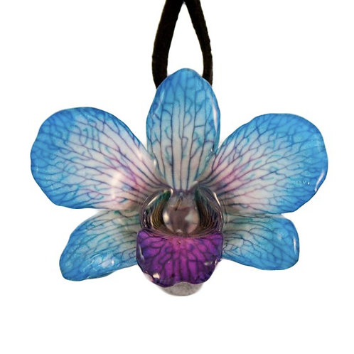 Blue Small Dendrobium Necklace with Brooch