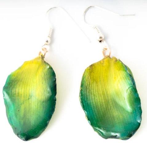 Green Lotus Petal Earrings