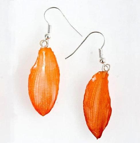 Orange Lotus Petal Earrings