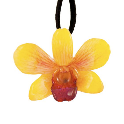 Yellow Small Dendrobium Necklace with Brooch