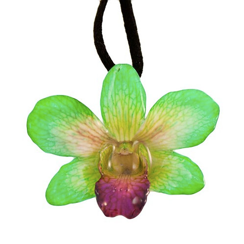 Green Small Dendrobium Necklace with Brooch