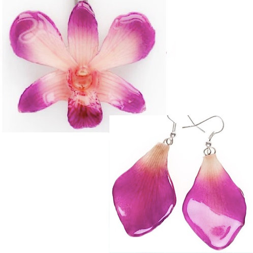 Pink Dendrobium Necklace & Earring Set