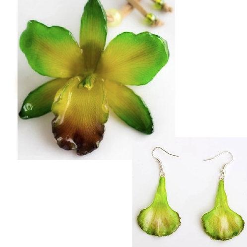 Green Cattleya Necklace & Earring Set