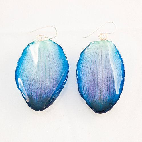 Dark Blue Lotus Petal Earrings