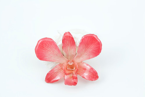 Coral Dendrobium Necklace with Brooch Option