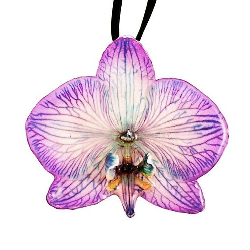 Purple Phalaenopsis Necklace & Hair Clip