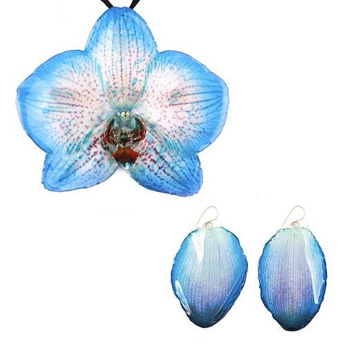 Blue Phalaenopsis Necklace & Earring Set