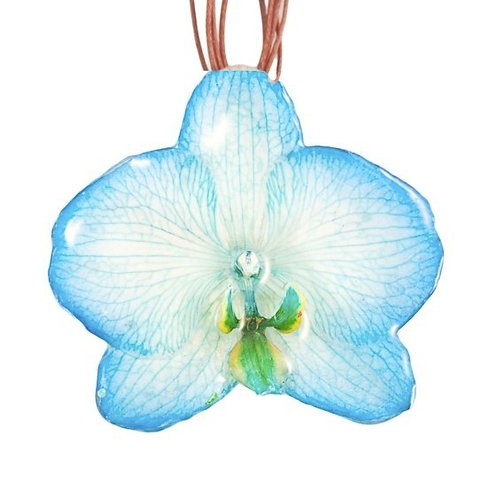Blue Phalaenopsis Necklace & Hair Clip