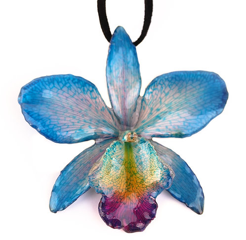 Teal Cattleya Necklace