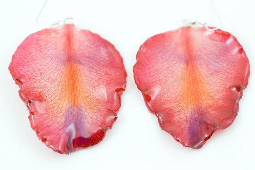 Pink Rose Petal Earrings