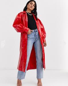 ASOS DESIGN vinyl trench coat in red