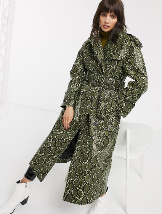 ASOS DESIGN snake trench coat with statement belt