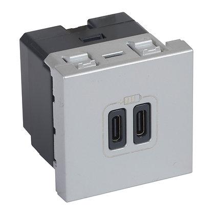MOSAIC 2 X USB C+C 3A 2MD ALUM