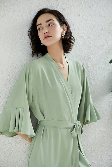 Sage Green Ruffle Robe