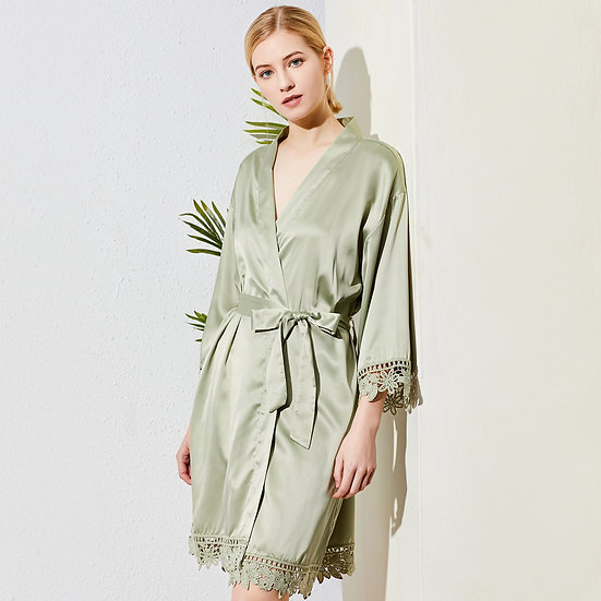 Sage Green Lace Rose Robe