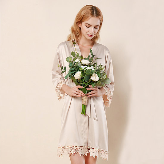 Champagne Lace Rose Robe